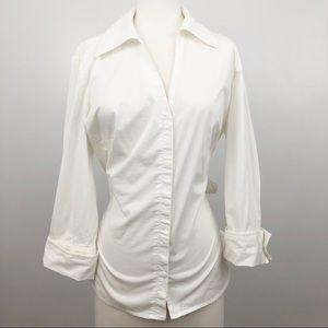 Ann Taylor White Tie Back Button Up Shirt Size 12